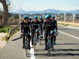 Sir Bradley Wiggins of Great Britain and Team SKY chats to team mate Edvald Boasson Hagen of Norway during a Team SKY Training Camp Media Day on February 4, 2014