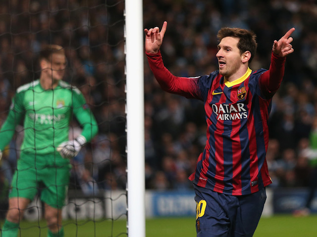 Lionel Messi of Barcelona celebrates scoring the opening goal from a penalty kick during the UEFA Champions League Round of 16 first leg match against Manchester City on February 18, 2014