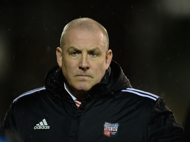 Mark Warburton of Brentford looks on during the Sky Bet League One match between Brentford and Gillingham at Griffin Park on January 24, 2014