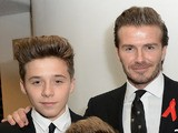 David and Brooklyn Beckham attending the World premiere of 'The Class of 92' at Odeon West End on December 1, 2013