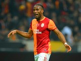 Galatasaray's Didier Drogba in action against Chelsea during the Champions League match on February 26, 2014
