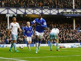Romelu Lukaku of Everton celebrates his goal during the Barclays Premier League match between Everton and West Ham United at Goodison Park on March 1, 2014