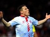 Sevilla's Kevin Gameiro celebrates after scoring his team's second goal against Maribor during their Europa League match on February 27, 2014