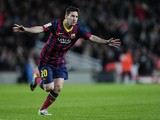 Barcelona's Argentinian forward Lionel Messi celebrates his goal during the Spanish league football match FC Barcelona vs UD Almeria at the Camp Nou stadium in Barcelona on March 2, 2014