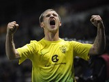 Anzhi Makhachkala's Olexandr Aliyev celebrates after scoring the opening goal against Genk during their Europa League match on February 27, 2014