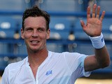 Tomas Berdych celebrates his win over Sergiy Stakhovsky during their match in the ATP Dubai Duty Free Tennis Championships on February 26, 2014