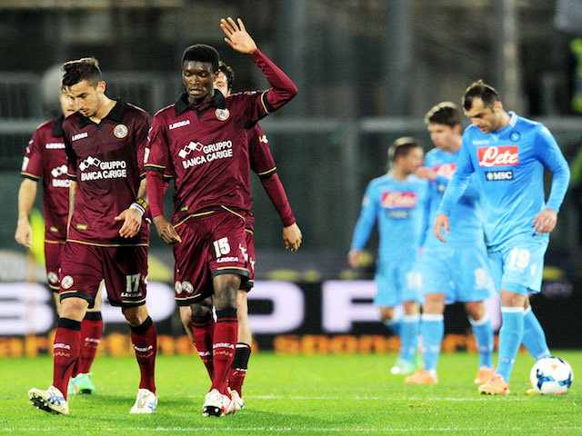 Ibrahima Mbaye of Livorno celebrates after scoring the goal 1-1 during the Serie A match between AS Livorno Calcio and SSC Napoli at Stadio Armando Picchi on March 2, 2014
