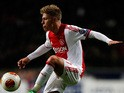 Ajax's Viktor Fischer in action against Salzburg during their Europa League match on February 20, 2014
