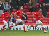 Dale Jennings of Barnsley celebrates after scoring the opening goal during the Sky Bet Championship match between Barnsley and Nottingham Forest at Oakwell on March 08, 2014