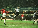 Eric Cantona scores the only goal of the game as Manchester United beat Newcastle United on March 04, 1996.