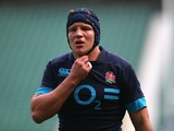 Tom Johnson looks on during the England training session held at Twickenham Stadium on March 5, 2014
