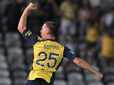 Central Coast's Eddy Bosnar celebrates after scoring the opening goal against Newcastle Jets during their A-League match on March 15, 2014