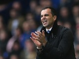 Everton manager Roberto Martinez shows his emotions during the Barclays Premier League match between Everton and Cardiff City at Goodison Park on March 15, 2014