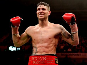 Brian Rose celebrates his victory over Javier Maciel during their Final Eliminator for WBO World Light Middleweight Championship bout at Motorpoint Arena on October 26, 2013