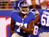 Adewale Ojomo #71 of the New York Giants in action against the New England Patriots during an NFL pre-season game on August 29, 2012