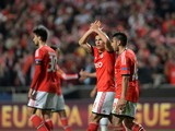 Benfica's Brazilian forward Rodrigo Lima celebrates after scoring a goal during the UEFA Europa League Round of 16 football match SL Benfica vs Tottenham Hotspur FC at the Luz stadium in Lisbon on March 20, 2014