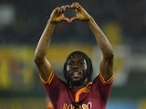 AS Roma's forward of Ivory Coast Gervinho celebrates after scoring during the Italian Serie A football match Chievo vs AS Roma on March 22, 2014