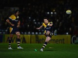 Ryan Lamb of Worcester Warriors kicks a penalty during the Aviva Premiership match between Worcester Warriors and London Wasps at Sixways Stadium on March 21, 2014