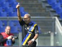 Parma's French forward Jonathan Biabiany celebrates after scoring during the Italian Serie A football match on March 30, 2014