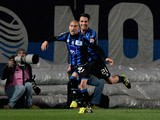 Giuseppe De Luca of Atalanta BC #91 celebrates scoring the first goal during the Serie A match between Atalanta BC and AS Livorno Calcio at Stadio Atleti Azzurri d'Italia on March 26, 2014