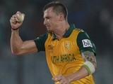 Dale Steyn of South Africa celebrates running out Ross Taylor of New Zealand to win the ICC World Twenty20 Bangladesh 2014 Group 1 match on March 24, 2014