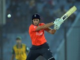 England batsman Alex Hales plays a shot during the ICC World Twenty20 tournament cricket match between England and South Africaat The Zahur Ahmed Chowdhury Stadium in Chittagong on March 29, 2014