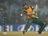 AB de Villiers of South Africa bats during the ICC World Twenty20 Bangladesh 2014 Group 1 match between England and South Africa at Zahur Ahmed Chowdhury Stadium on March 29, 2014
