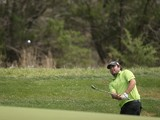 Steven Bowditch plays his shot on the 9th during Round Two of the Valero Texas Open at TPC San Antonio AT&T Oak Course on March 28, 2014