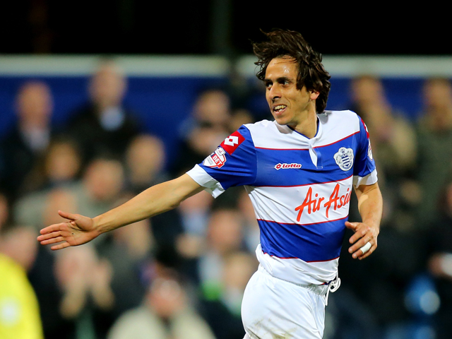 Yossi Benayoun of Queens Park Rangers celebrates his goal during the Sky Bet Championship match between Queens Park Rangers and Wigan Athletic at Loftus Road on March 25, 2014