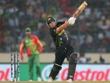 Aaron Finch of Australia bats during the ICC World Twenty20 Bangladesh 2014 match between Bangladesh and Australia at Sher-e-Bangla Mirpur Stadium on April 1, 2014