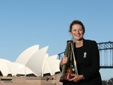 England captain Charlotte Edwards poses with the Ashes trophy on February 3, 2014