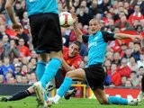 Federico Macheda scores on his Manchester United debut against Aston Villa on April 05, 2009.