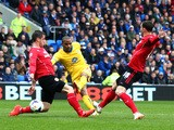 Jason Puncheon of Crystal Palace scores the opening goal during the Barclays Premier League match against Cardiff City on April 5, 2014