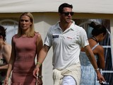 Kevin Pietersen with his wife Jessica Taylor during the Shane Warne's Australia vs Michael Vaughan's England T20 match at Circenster Cricket Club on June 9, 2013