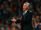Carlo Ancelotti, coach of Real Madrid reacts durin
