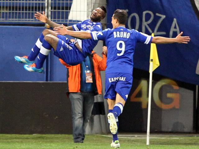 Bastia's French forward Djibril Cisse celebrates after scoring a goal during the French L1 football match Bastia (SCB) vs Sochaux (FCSM) on April 5, 2014