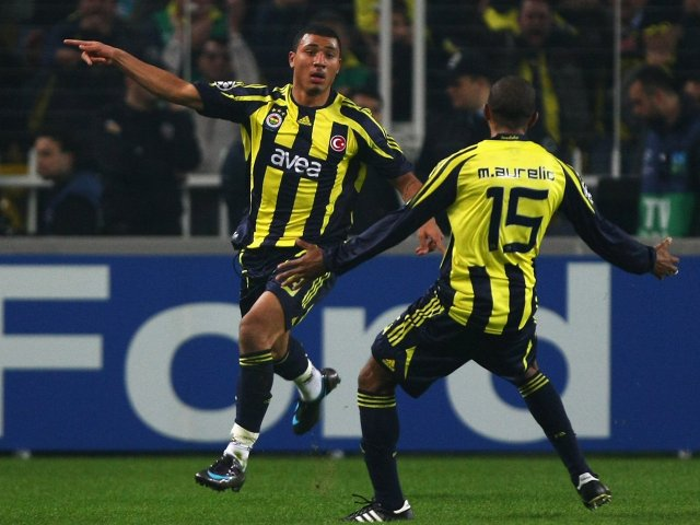 Colin Kazim-Richards celebrates scoring against Chelsea for Fenerbahce on April 2, 2008.