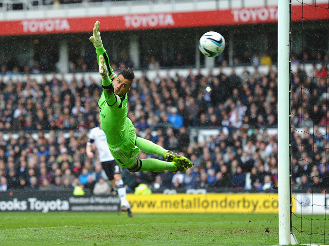 Karl Darlow of Nottingham Forest in action during the Sky Bet Championship match between Derby County and Nottingham Forest at iPro Stadium on March 23, 2014