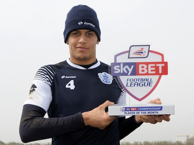 QPR's Ravel Morrison with his March Player of the Month award on April 3, 2014