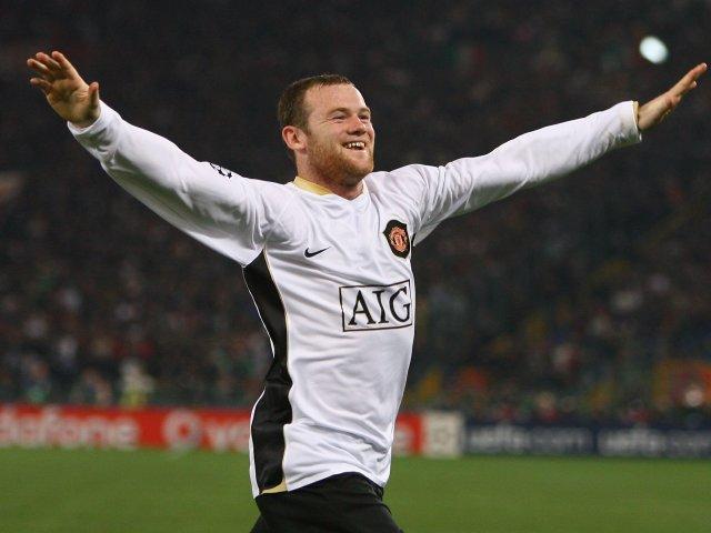 Wayne Rooney celebrates scoring for Manchester United against Roma on April 1, 2008.