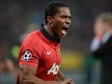 Manchester United's Antonio Valencia celebrates scoring against Bayer Leverkusen on November 27, 2013.