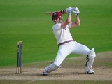 Nick Compton of Somerset smashes the ball to the boundary during day three of the LV County Championship division one match between Nottinghamshire and Somerset at Trent Bridge on September 26, 2013