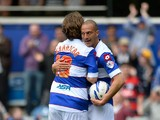 Bobby Zamora of Queens Park Rangers celebrates scoring their 5th goal with Niko Kranjcar of Queens Park Rangers during the Sky Bet Championship match between Queens Park Rangers and Nottingham Forest at Loftus Road on April 12, 2014