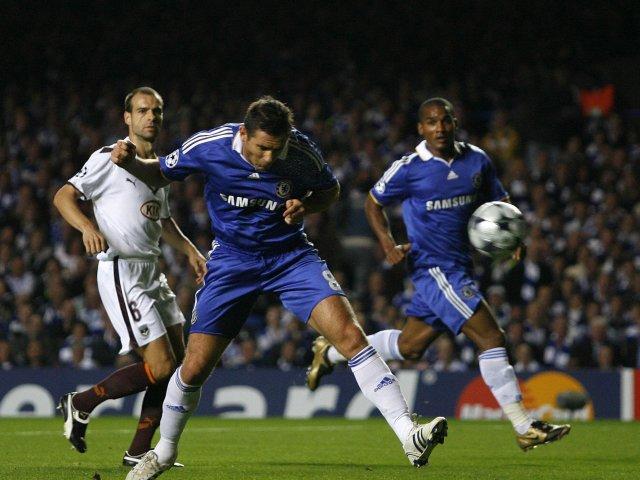 Frank Lampard stoops to score for Chelsea against Bordeaux on September 16, 2008.