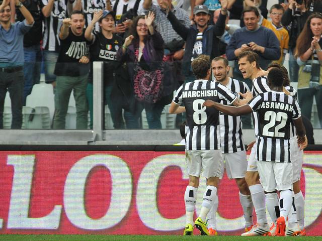 Fernando Lorente of Juventus celebrates the opening goal during the Serie A match between Juventus and AS Livorno Calcio at Juventus Arena on April 7, 2014
