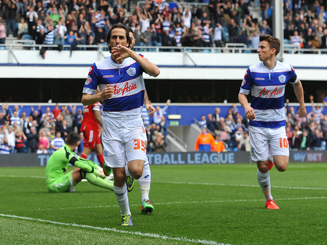 Yossi Benayoun of Queens Park Rangers celebrates scoring the 1st goal during the Sky Bet Championship match between Queens Park Rangers and Nottingham Forest at Loftus Road on April 12, 2014