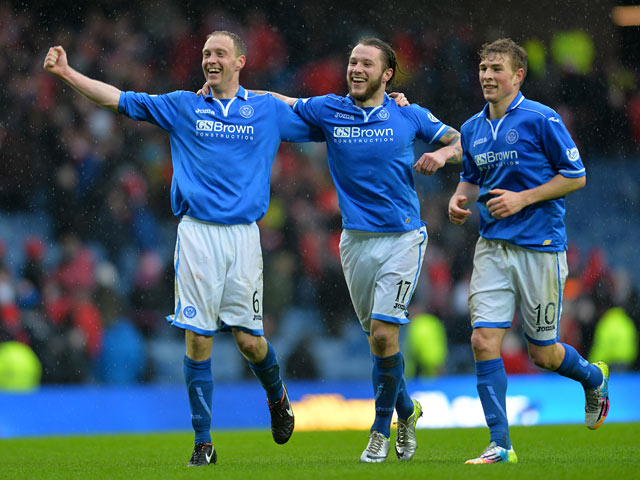 St Johnstone's Steven Anderson, Steven May and David Wotherspoon celebrates at the final whistle after beating Aberdeen in the Scottish Cup semi final on April 13, 2014