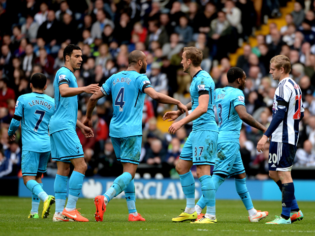 Harry Kane #37 of Spurs is congratulated by teammates after scoring his team's goal during the Barclays Premier League match between West Bromwich Albion and Tottenham Hotspur at The Hawthorns on April 12, 2014