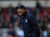 Tony Pulis manager of Crystal Palace gives instructions from the touchline during the Barclays Premier League match between West Ham United and Crystal Palace at Boleyn Ground on April 19, 2014
