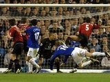 Duncan Ferguson scores for Everton against Manchester United on April 20, 2005.